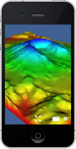 Mount St. Helens dataset visualized on iPhone