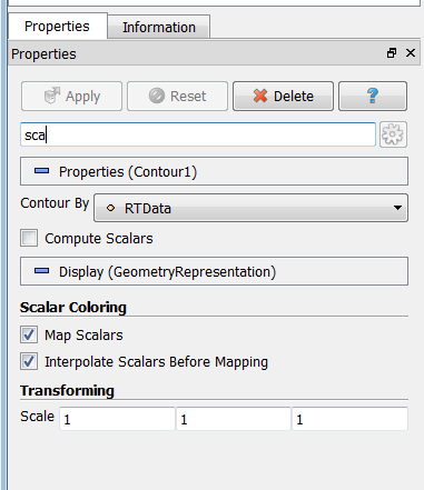 Searching on Properties Panel