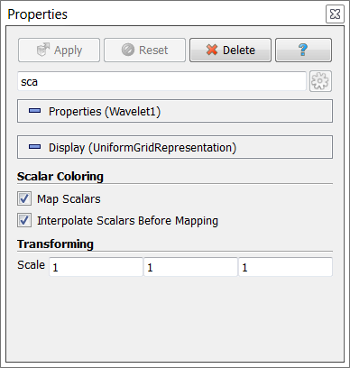 Searching for parameters in the Properties Panel